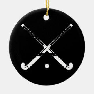 Field Hockey Ornament w/Name Black