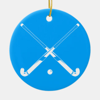Field Hockey Silhouette Ornament Blue
