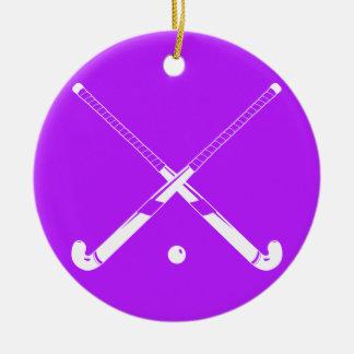 Field Hockey Silhouette Ornament Purple