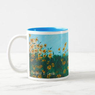 Field of Black-Eyed Susans by Farmhouse Painting Two-Tone Coffee Mug