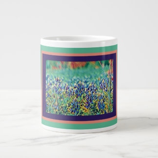 Field of Bluebonnets, purple salmon aqua frame Large Coffee Mug