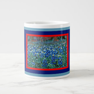 Field of Bluebonnets, red, blues, aqua framed art Large Coffee Mug
