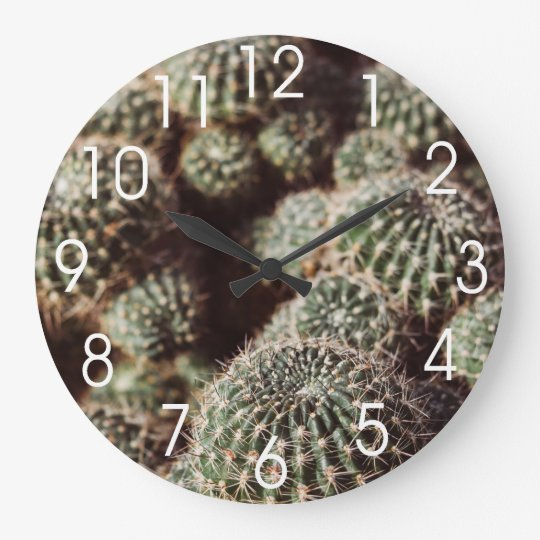 Field of Cacti, Warm Red Botanical Photograph Wall Clocks