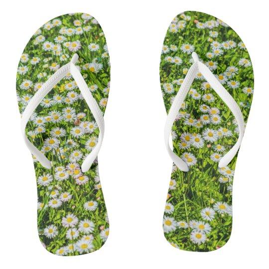 Field of daisy flowers flip flops