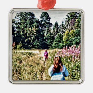 Field of flowers in Bic Metal Ornament
