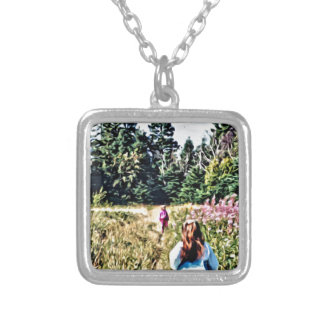 Field of flowers in Bic Silver Plated Necklace