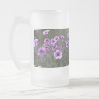 Field of Geraniums Frosted Glass Beer Mug