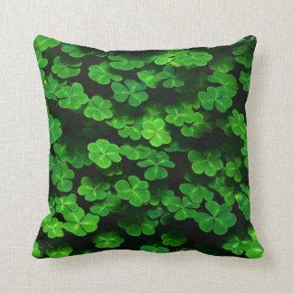 Field Of Green Shamrock Clover Throw Pillow