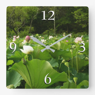 Field of Lotus Flowers Square Wall Clock
