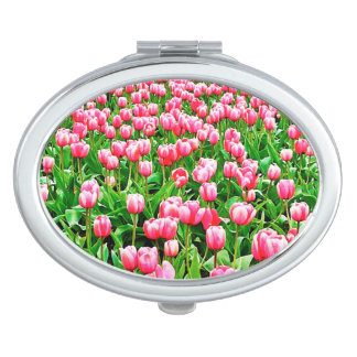 Field of Pink Tulips Compact Mirror