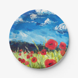 Field of Poppies plate 7 Inch Paper Plate