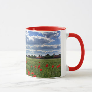 Field of Red Poppies with Beautiful Clouds Mug