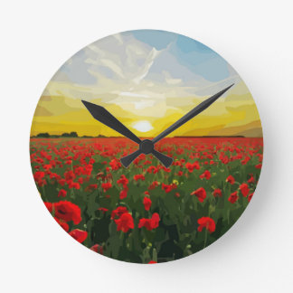 Field of red Poppies with Sunrise Round Clock