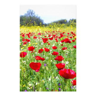 Field of red poppy flowers with yellow rapeseed personalized stationery
