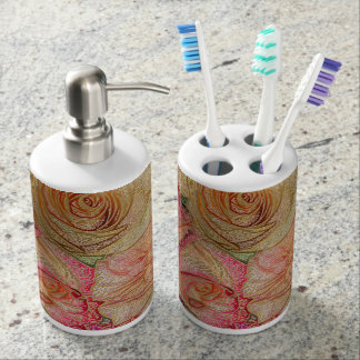 Field of Roses in Color Pencil w/ Gold Highlights Bathroom Set