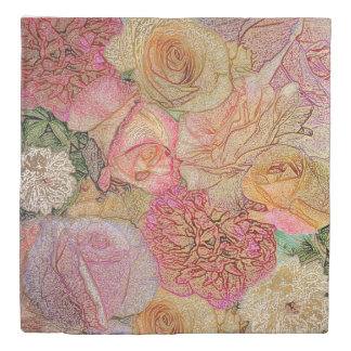 Field of Roses in Color Pencil w/ Gold Highlights Duvet Cover