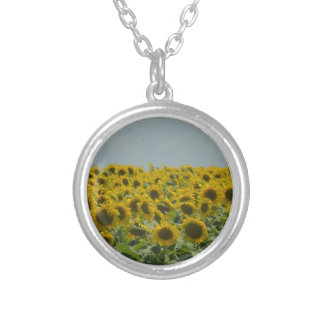 Field of Sunflowers Silver Plated Necklace