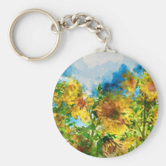 Field of Sunflowers Watercolor Basic Round Button Keychain