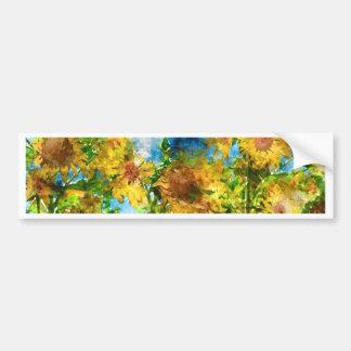 Field of Sunflowers Watercolor Bumper Sticker