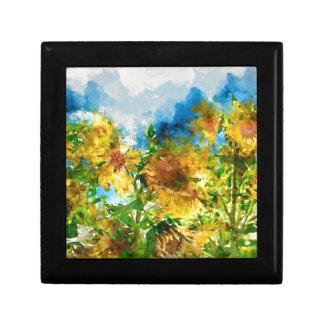 Field of Sunflowers Watercolor Keepsake Box