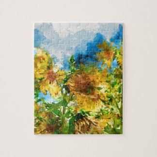 Field of Sunflowers Watercolor Puzzles