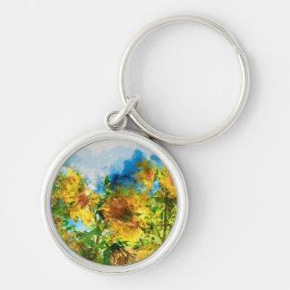Field of Sunflowers Watercolor Silver-Colored Round Keychain