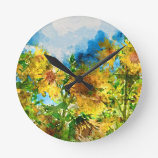 Field of Sunflowers Watercolor Wall Clock