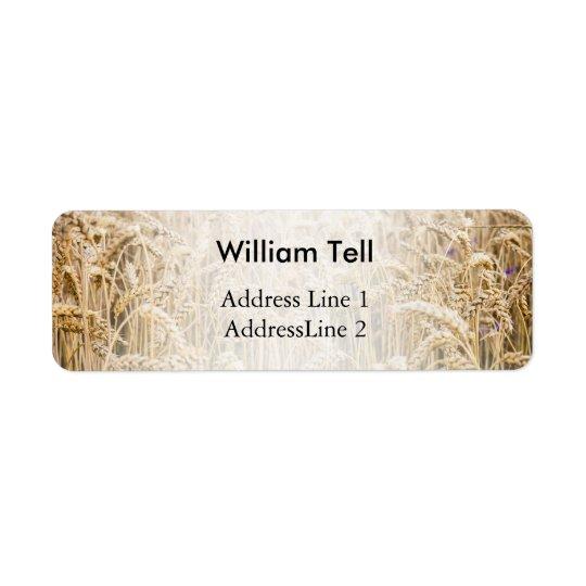 Field Of Wheat, Golden Grains Return Address Label
