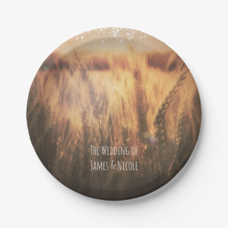 Field of Wheat Rustic Country Wedding 7 Inch Paper Plate
