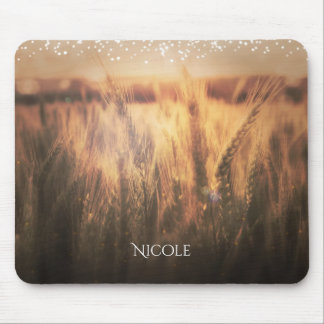 Field of Wheat Rustic Country Wedding Glam Lights Mouse Pad
