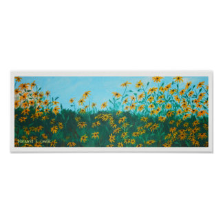 Field of Wildflower Black-Eyed Susans Painting Poster