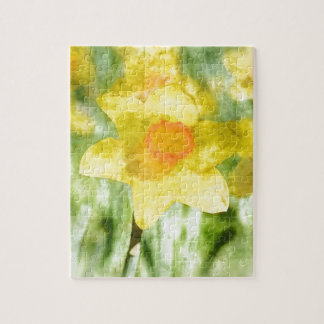Field of yellow daffodils Watercolor Jigsaw Puzzle