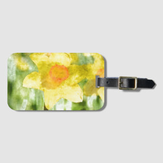 Field of yellow daffodils Watercolor Luggage Tag