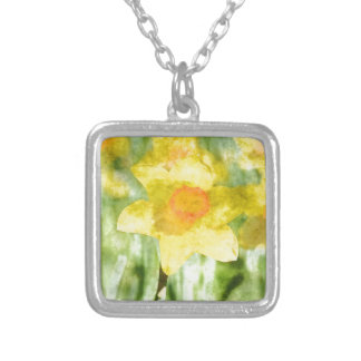 Field of yellow daffodils Watercolor Silver Plated Necklace