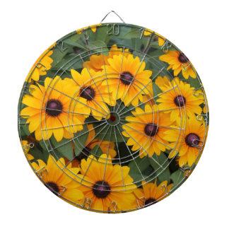 Field of yellow daisies dartboard