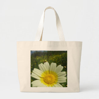 Field of yellow daisies large tote bag