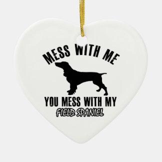 FIELD SPANIEL dog designs Ceramic Heart Ornament