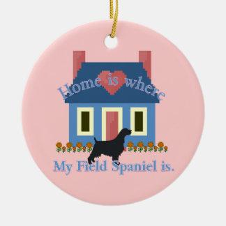 Field Spaniel Home Is Round Ceramic Ornament