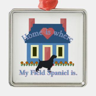 Field Spaniel Home Is Silver-Colored Square Ornament