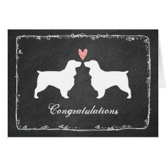 Field Spaniel Silhouettes Wedding Congratulations Card