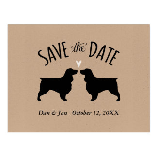 Field Spaniel Silhouettes Wedding Save the Date Postcard