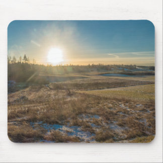 Field winter sunset mouse pad