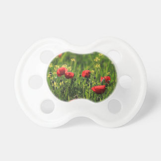 Field with green grass, yellow & red wild flowers pacifier