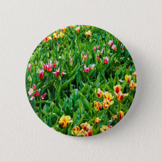 Field with Pink and Yellow Tulips 2 Inch Round Button