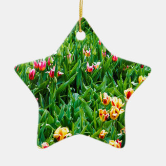 Field with Pink and Yellow Tulips Ceramic Ornament