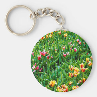 Field with Pink and Yellow Tulips Keychain