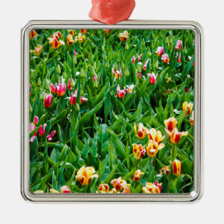 Field with Pink and Yellow Tulips Metal Ornament