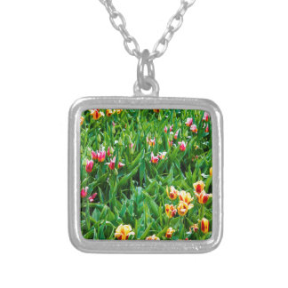 Field with Pink and Yellow Tulips Silver Plated Necklace