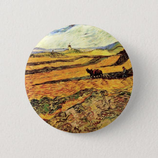 Field with Ploughman and Mill Vincent van Gogh. 2 Inch Round Button