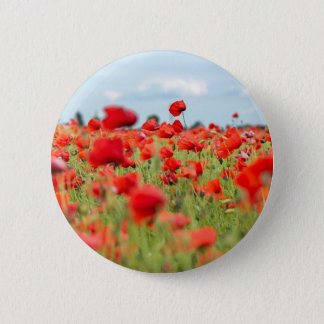 Field with red papavers 2 inch round button